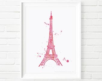 Print, Paris printable, Printable Art, Eiffel tower, Home decor print, printable, wall art, travel print, kids print, watercolor art
