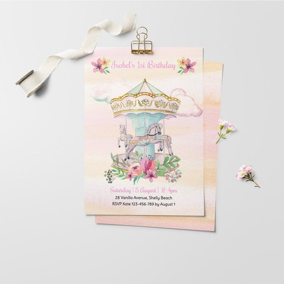 Carousel Birthday Invitation First Kids Invitations Carnival Personalized Template Instant Download