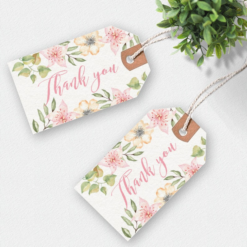 picture relating to Thank You Printable Tag called Thank oneself printable tags, handwritten tags, floral thank by yourself tag, printable tags, want tags, printable reward tags, thankyou tags
