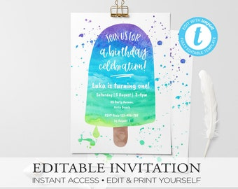 Ice cream birthday invitation, kids invitation, invitations, watercolor invite, 1st birthday, summer party, pool party, first birthday