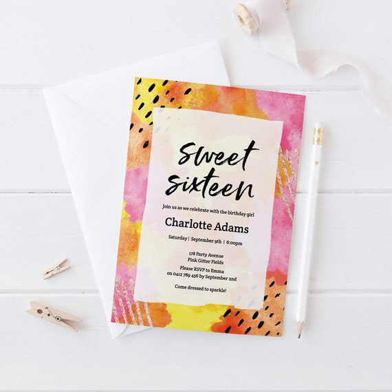Sweet 16 Birthday Invitation Abstract