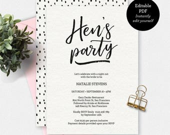 Hens party invitation template bachelorette party hens party invitation black and white invitation instant download printable invitation hens party template invitation template stopboris Images