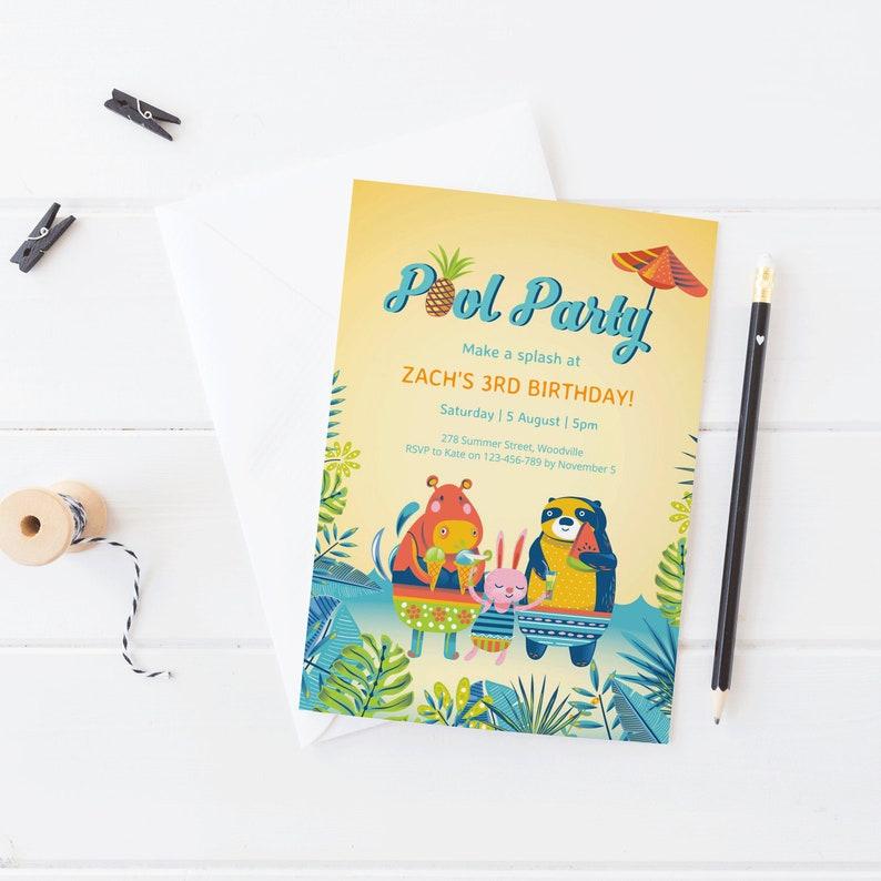 Pool Party Invitation Kids Birthday Animal