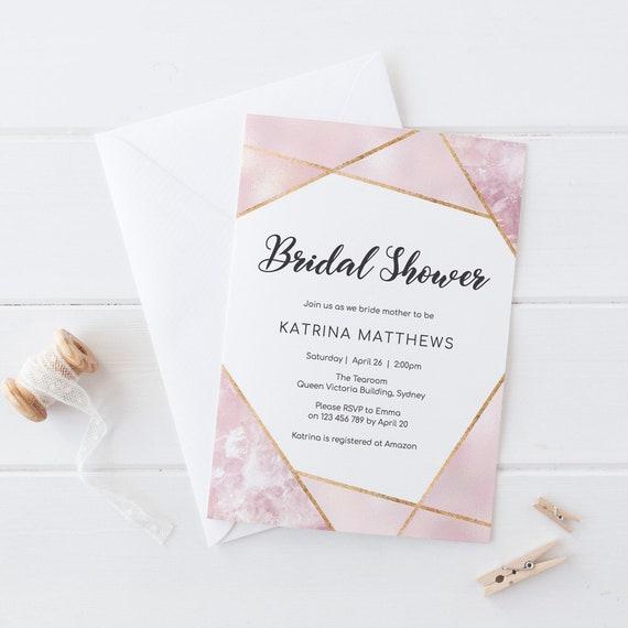 Kitchen Tea Invitation Templates Free Download: Geometric Bridal Shower Invitation Kitchen Tea Invitation