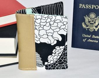 Floral Passport Wallet - Gold Passport Holder - Mini Journal Cover - Travel Gift Idea - Gift for Her