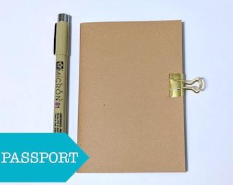 Blank Passport Notebook Insert // Kraft Midori Fauxdori Journal - Bullet Journal - Planner Notebook - Fountain Pen Friendly Paper