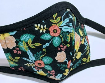 SAMPLE SALE Rifle Paper Co Floral Fabric Mask - Ready to Ship Reversible Cotton Mask w/ Filter Sleeve - Ships from USA