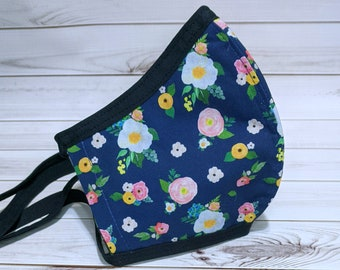 SAMPLE SALE Navy Floral Fabric Mask - Ready to Ship Cotton Mask - Washable Mask w/ Filter Sleeve - Fitted Protective Mask - Ships from USA