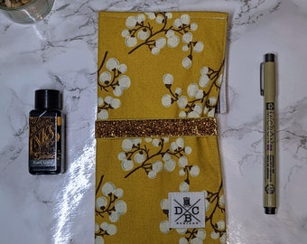 Jaunt Pen Roll - Fabric Art Roll - Pen & Pencil Organizer - Craft Tool Roll - Ready to Ship