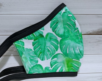 SAMPLE SALE Monstera Print Fabric Mask - Ready to Ship Washable Mask w/ Filter Sleeve - Fitted Protective Mask - Ships from USA