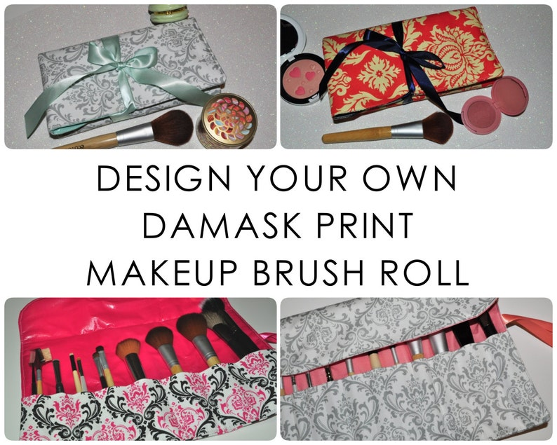 Damask Brush Roll // Design Your Own Fabric Makeup Brush image 0
