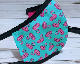 SAMPLE SALE Flamingo Floatie Fabric Mask - Ready to Ship Reversible Mask w/ Filter Sleeve - Fitted Protective Mask - Ships from USA