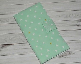 Mint Green Travel Wallet // Fabric Passport Organizer - Tribal Boarding Pass Case - Gift for Her - Fauxdori Traveler Cover - Made to Order