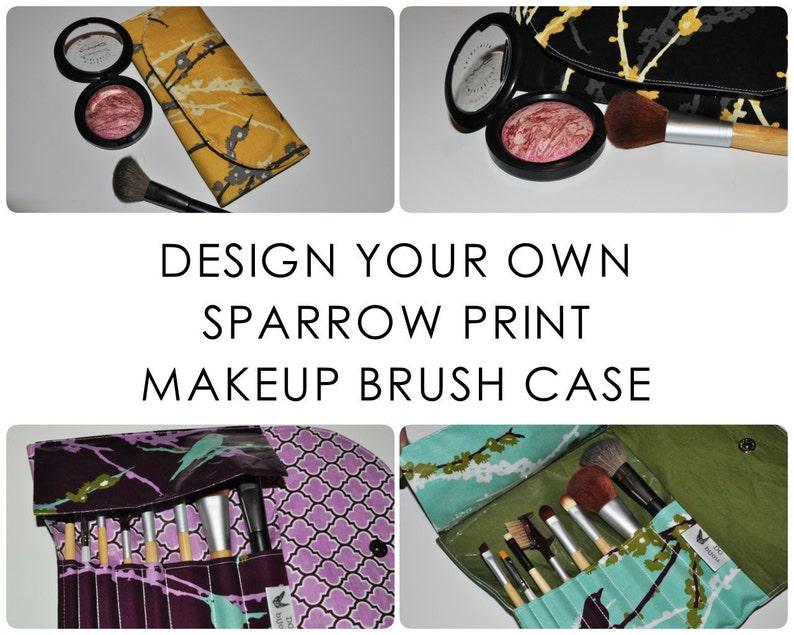 Travel Brush Holder // Design Your Own Bird Print Fabric Brush image 0