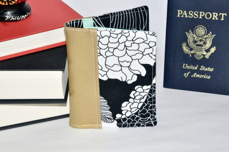 Floral Passport Wallet  Gold Passport Holder  Mini Journal image 0