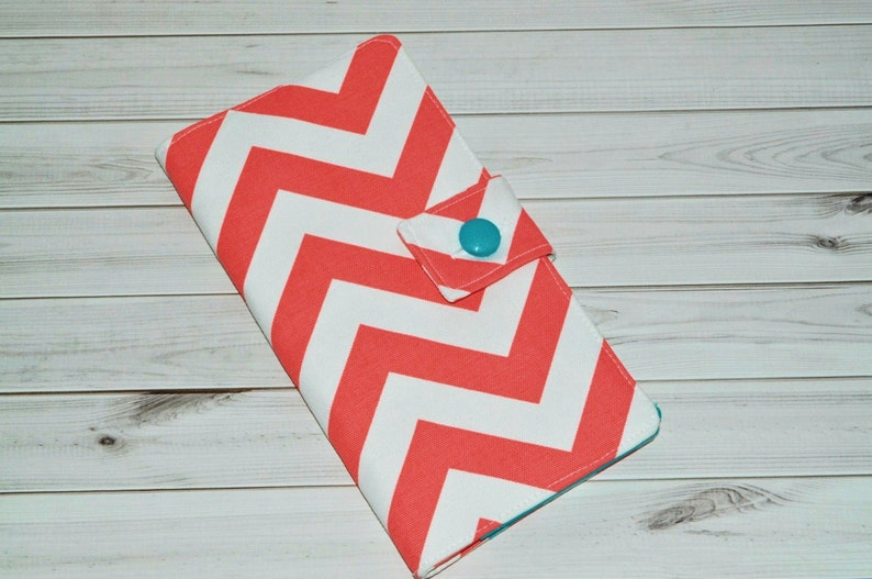 Coral Chevron Travel Wallet // Fabric Fauxdori Cover  Button image 0