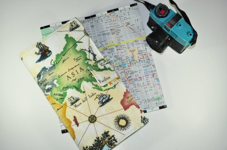 World Map Travel Wallet // Fabric Boarding Pass Organizer  image 0