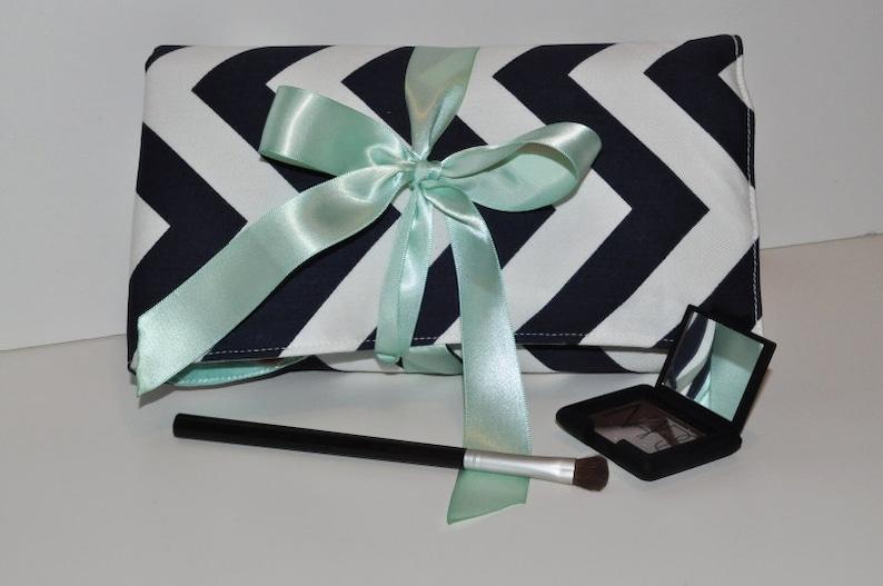 Navy and Mint Padded Brush Organizer // Chevron Makeup Brush image 0