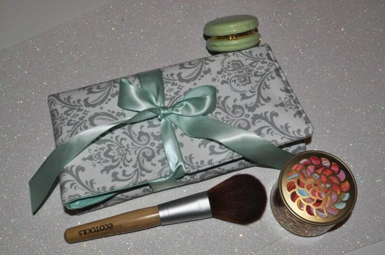 Damask Makeup Brush Roll // Grey and Mint Brush Organizer  image 0