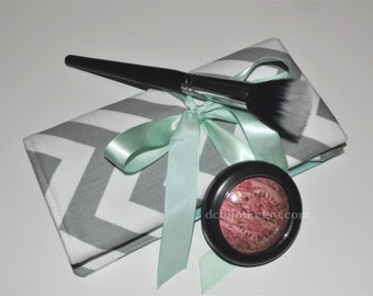 Chevron Makeup Brush Roll // Grey and Mint Brush Organizer - Padded Brush Roll - Gift for Her - Bridesmaid Gift - Made to Order
