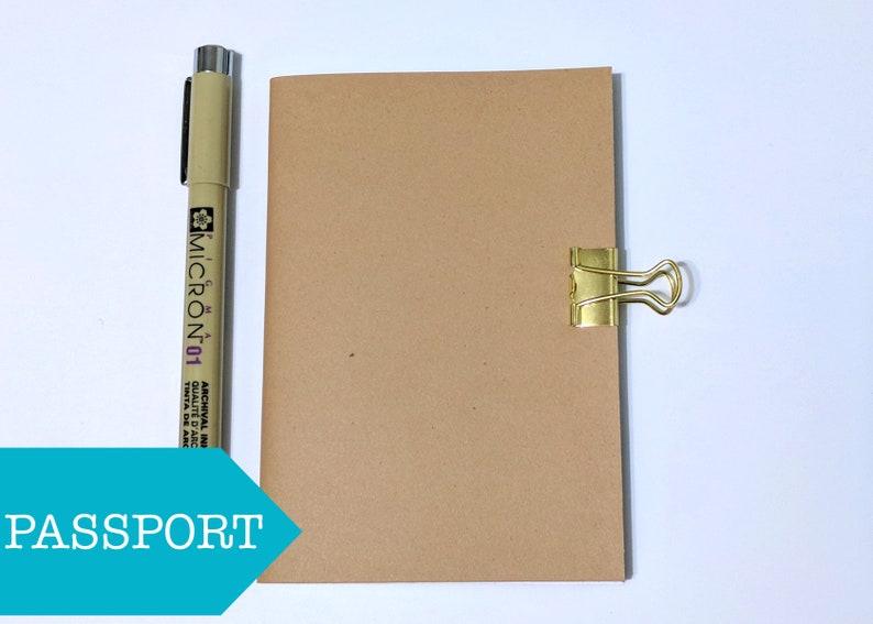 Blank Passport Notebook Insert // Kraft Midori Fauxdori image 0