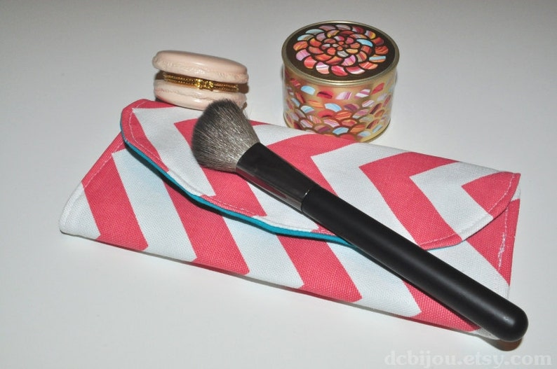 Makeup Brush Case // Coral Chevron Travel Brush Organizer  image 0