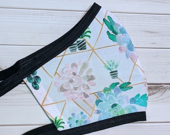 SAMPLE SALE Succulent Print Fabric Mask - Ready to Ship Washable Mask w/ Filter Sleeve - Fitted Protective Mask - Ships from USA
