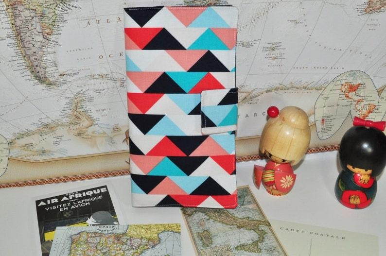 Geometric Print Travel Wallet // Navy Aqua Peach Coral image 0