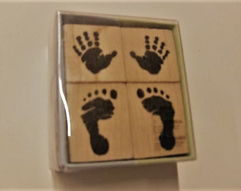 Wood Mounted Rubber Stamp - Baby Prints - Inkadinkado