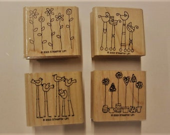 Stampin Up Wood Mounted Rubber Stamp Set - Simple Somethings