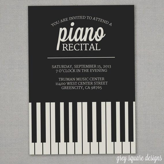 piano recital invitation etsy
