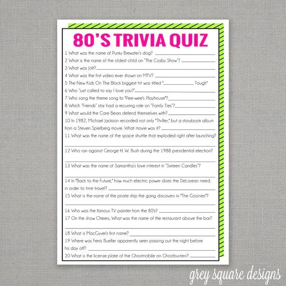 80's Trivia Quiz Game