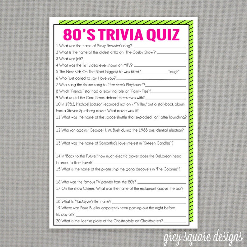 image relating to 80's Trivia Questions and Answers Printable called 80s Trivia Quiz Sport