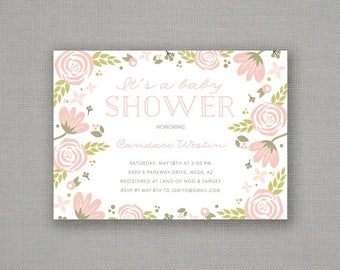 Baby Shower Invitation // Girl // Bloom // Floral // Pink + Green // Spring // Flowers