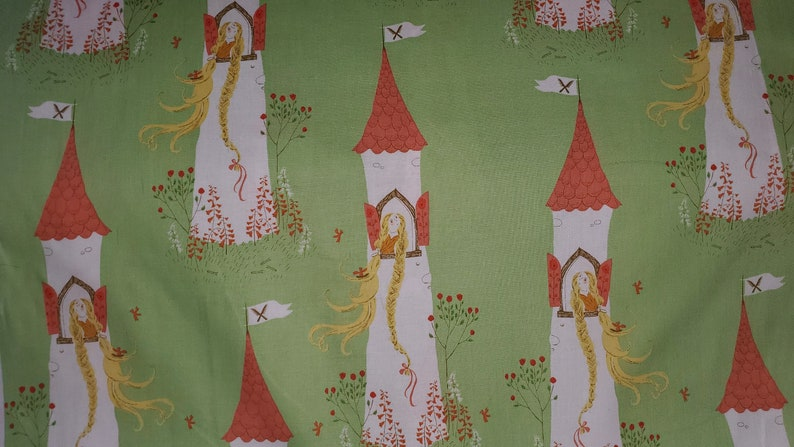 Far Far Away 2 by Heather Ross for Windham fabrics princess in tower on green background cotton quilting fabric