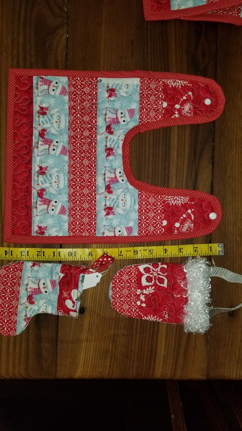 pieced quilted  winter bib and  stocking and bag