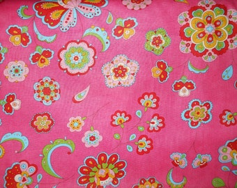 New Gypsy Girl By Lily Ashbury For Moda  Pink , blue, green mod flowers and designs 1 yard cotton quilt fabric