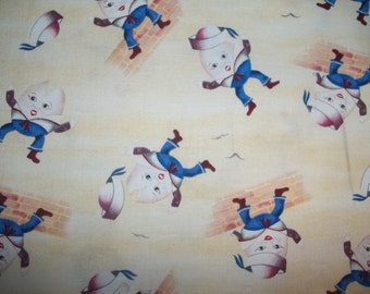 Humpty Dumpty sat on a Wall by Elizebeths Studio on yellow  back ground 1/2  yard Licensed Print cotton quilt fabric
