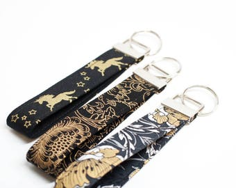 Gold and Black Key Chain / Key Fob / Wristlet - Choose Your Fabric and lenght