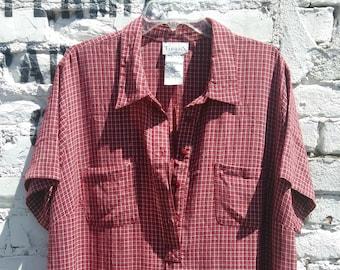 90s Plaid Maxi Dress Shirt Dress XXL