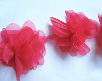 """1 yard 2.5"""" Chiffon Flowers Lace Trim-Hot Pink CH014"""