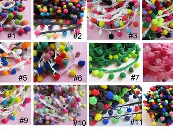 "2y 1/2"" Pom Pom Trim-multicolor(U-PICK)"