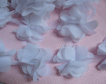 "1 yard 2.5"" Chiffon Flowers Lace Trim-Snow white CH014"