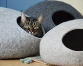 Modern pet bed cat bed cat cave cat house pet furniture cat nap cocoon made of natural color wool