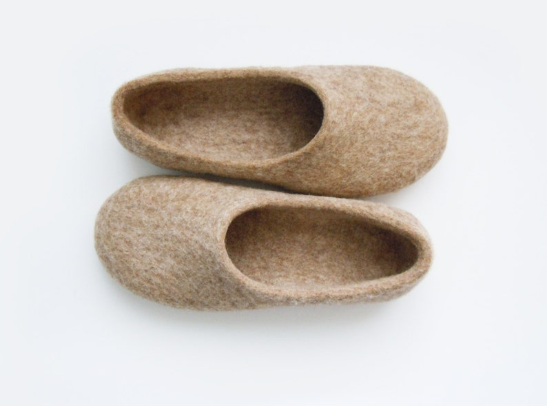 Eco friendly handmade felted slippers in natural light brown image 0