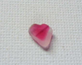 Tiny heart shaped pink and white tiny sea glass multi - very pretty Seaham beach find England