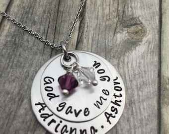 Holiday Sale Personalized Mothers hand stamped & domed necklace