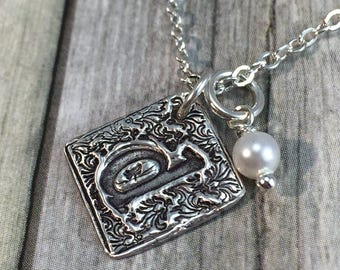 Initial necklace, wax seal necklace, monogram letter,