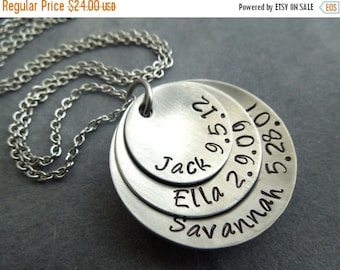 Holiday Sale Personalized mother's necklace hand stamped & domed stainless steel 3 disc necklace