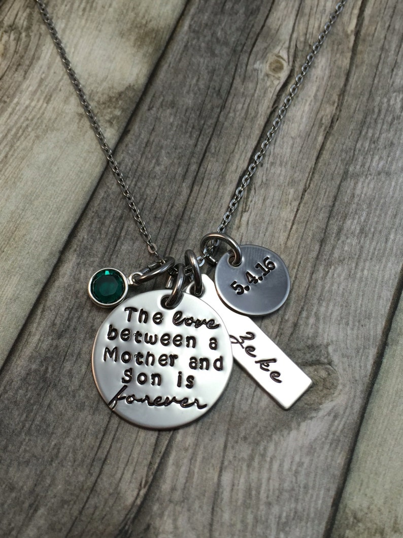 Summer Sale The love between a mother and son is forever hand stamped necklace